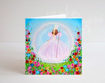 Jo Gough - Wizard of Oz Glinda with flowers Greeting Card