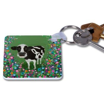 Jo Gough - Cow with flowers Key Ring
