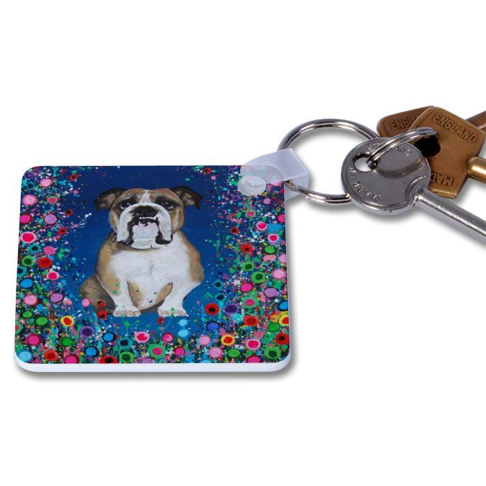 Jo Gough - Bull Dog with flowers Key Ring