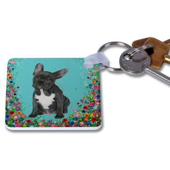 Jo Gough - French Bull Dog with flowers Key Ring