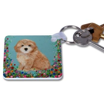 Jo Gough - Cockapoo with flowers Key Ring