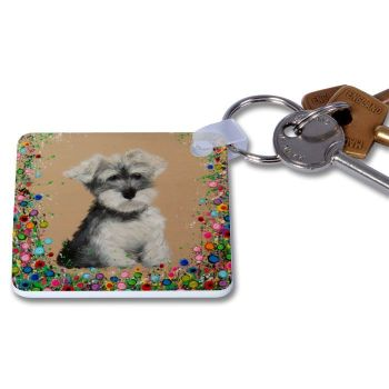 Jo Gough - Mini Schnauzer with flowers Key Ring