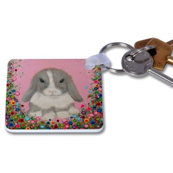 Jo Gough - Mini Lop Rabbit with flowers Key Ring