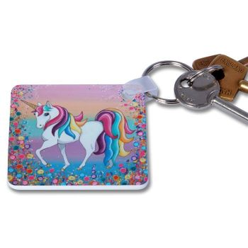 Jo Gough - Unicorn with flowers Key Ring