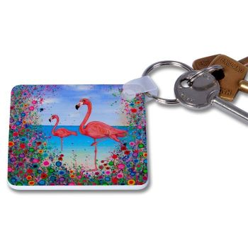 Jo Gough - Flamingo with flowers Key Ring
