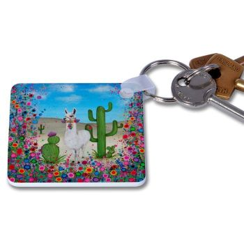 Jo Gough - Llama with flowers Key Ring