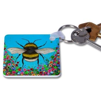 Jo Gough - Bumble Bee with flowers Key Ring
