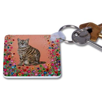 Jo Gough - Cat with flowers Key Ring