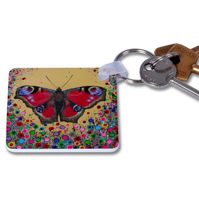 Jo Gough - Butterfly with flowers Key Ring