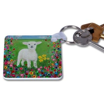 Jo Gough - Welsh Lamb with flowers Key Ring