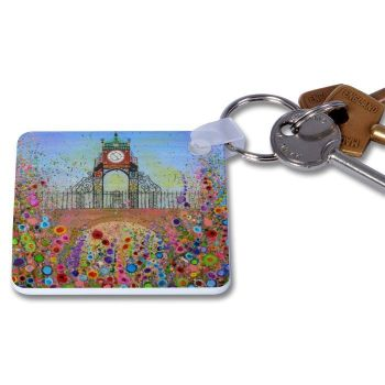 Jo Gough - Chester Clock with flowers Key Ring