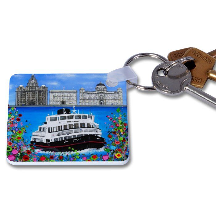 Jo Gough - 3 Graces with flowers Key Ring