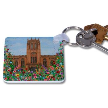 Jo Gough - Anglican Cathedral with flowers Key Ring