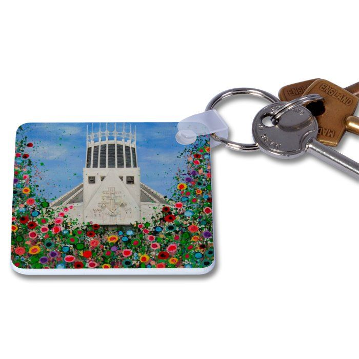 Jo Gough - Met Cathedral with flowers Key Ring