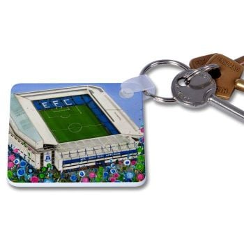 Jo Gough - EFC Stadium with flowers Key Ring