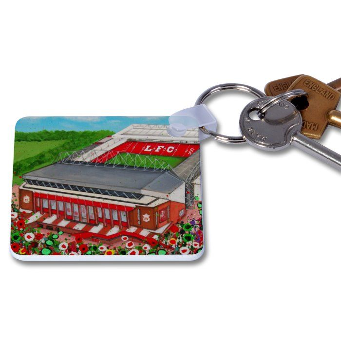 Jo Gough - LFC Stadium with flowers Key Ring