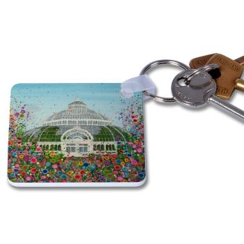 Jo Gough - The Palm House with flowers Key Ring