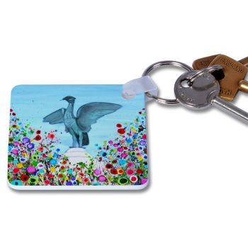 Jo Gough - Liverbird with flowers Key Ring