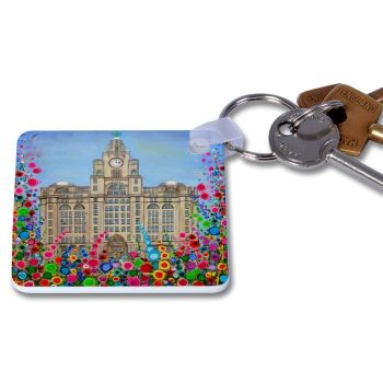 Jo Gough - Liver Building with flowers Key Ring
