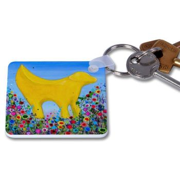 Jo Gough - Lambanana with flowers Key Ring