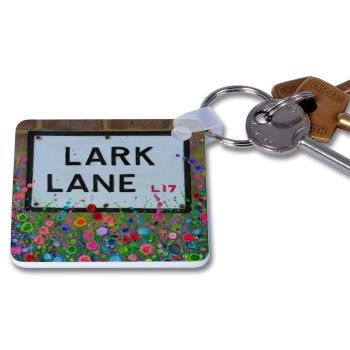 Jo Gough - Lark Lane with flowers Key Ring