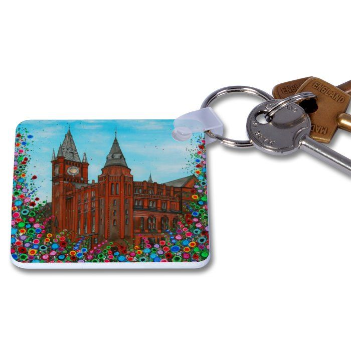 Jo Gough - Victoria Gallery & Museum with flowers Key Ring