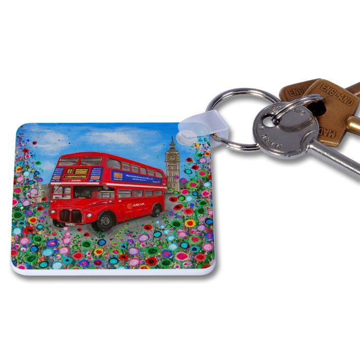 Jo Gough - London Bus with flowers Key Ring