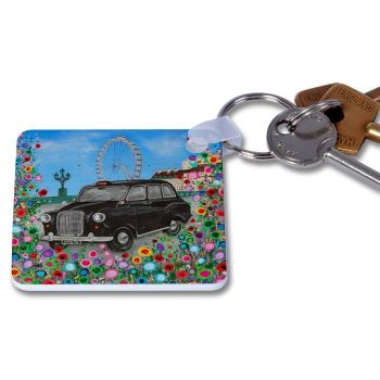 Jo Gough - London Black Taxi with flowers Key Ring