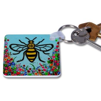 Jo Gough - Manchester Bee with flowers Key Ring