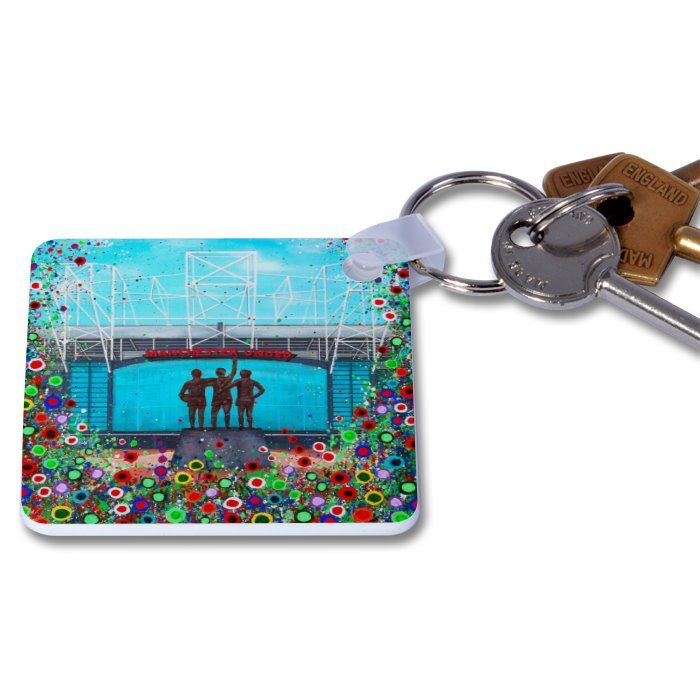 Jo Gough - Old Trafford Stadium with flowers Key Ring