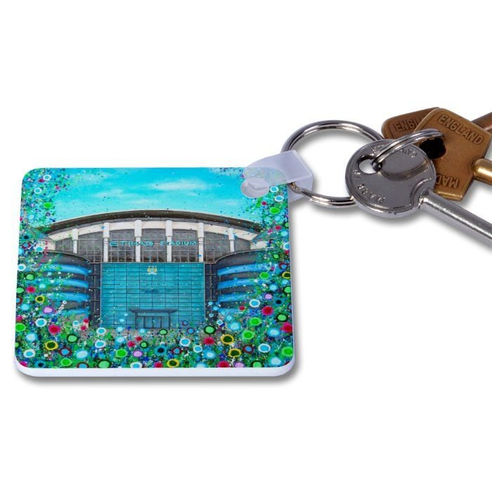 Jo Gough - MCFC - Etihad Stadium with flowers Key Ring