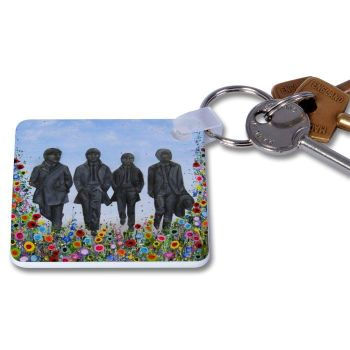 Jo Gough - The Beatles Statues with flowers Key Ring