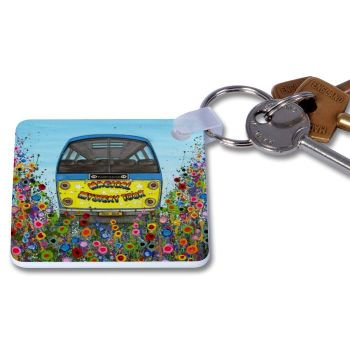 Jo Gough - Magical Mystery Tour Bus with flowers Key Ring
