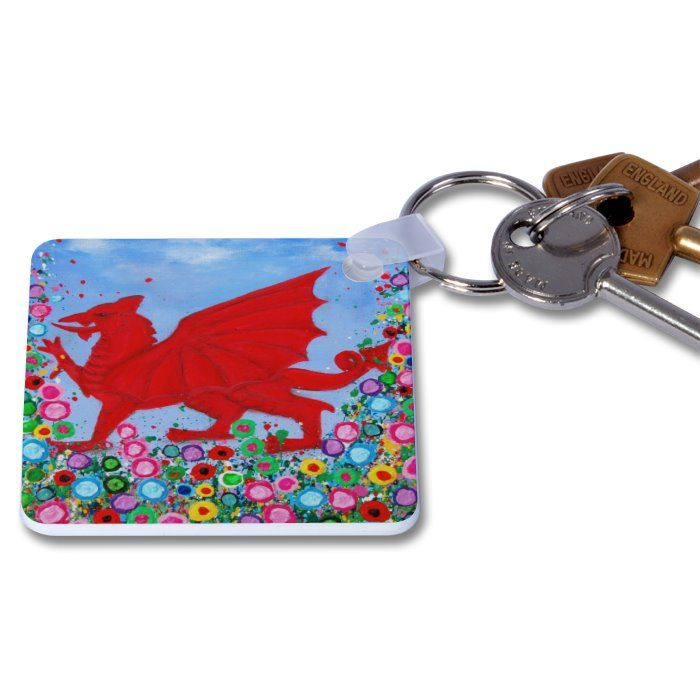 Jo Gough - Welsh Dragon with flowers Key Ring