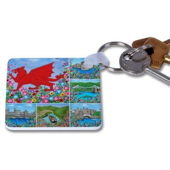 Jo Gough - Welsh Montage with flowers Key Ring