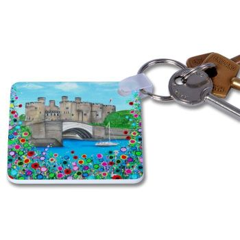 Jo Gough - Conwy Castle with flowers Key Ring