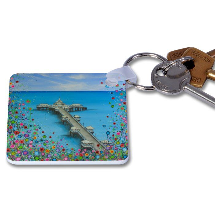 Jo Gough - Llandudno Pier with flowers Key Ring