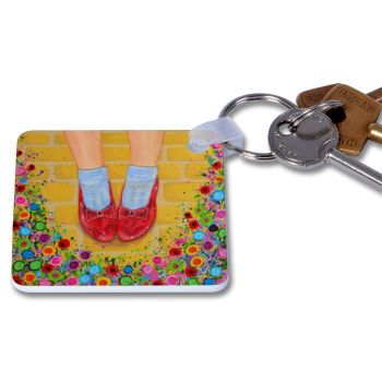 Jo Gough - The Wizard of Oz Ruby Slippers with flowers Key Ring