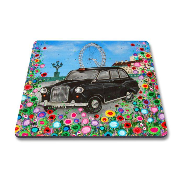 Jo Gough - London Black Taxi with flowers Magnet