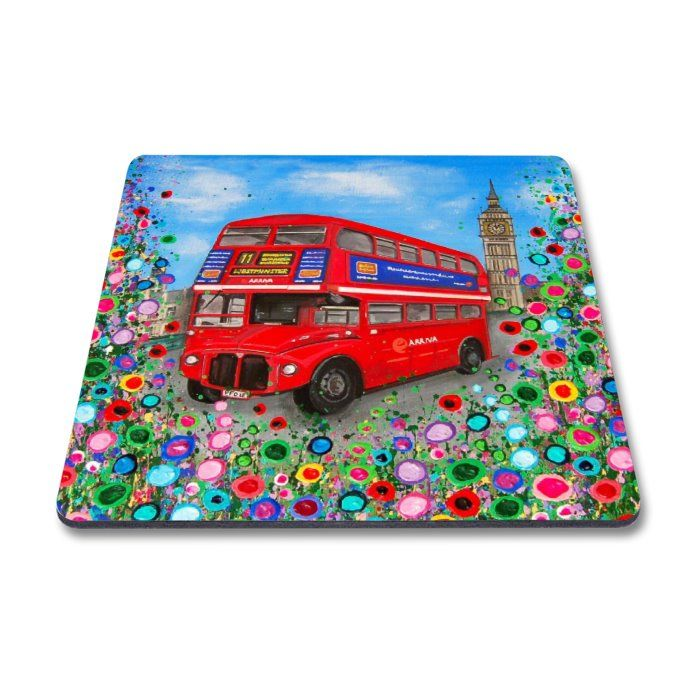 Jo Gough - London Red Bus with flowers Key Ring