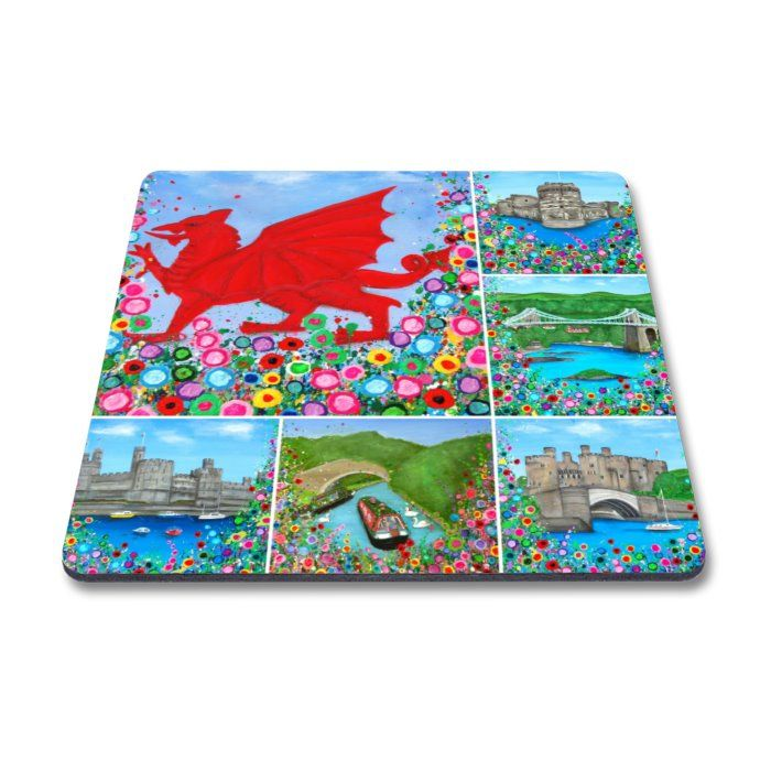 Jo Gough - Welsh Montage with flowers Magnet