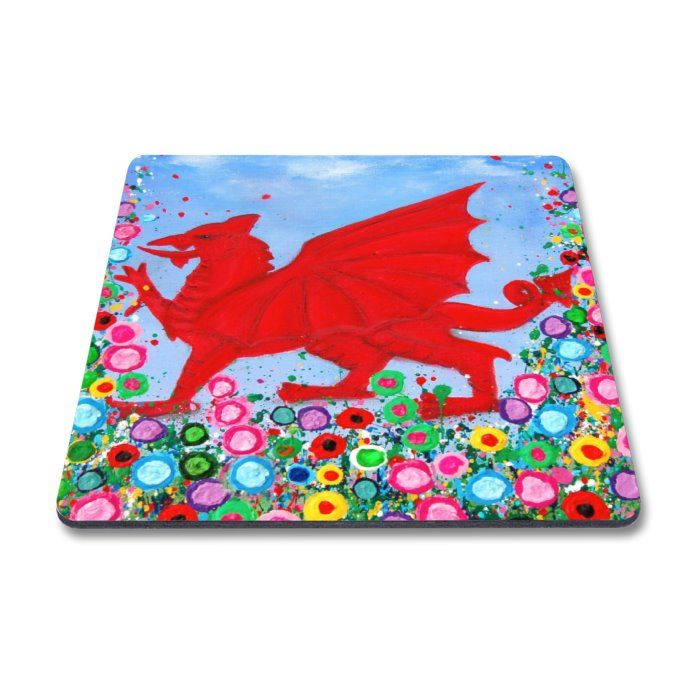 Jo Gough - Welsh Dragon with flowers Magnet