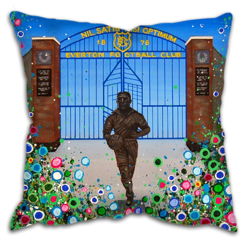 Jo Gough - EFC Dixie Dean with flowers Cushion