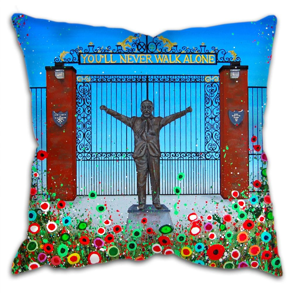Jo Gough - LFC Shankly Gates with flowers Cushion