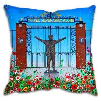 Jo Gough - LFC Shankly Gates with flowers Cushion