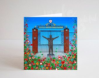 Jo Gough - LFC Shankly Gates with flowers Greeting Card