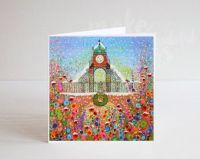 Jo Gough - A Festive Chester Clock with flowers Christmas Card