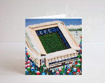 Jo Gough - A Festive EFC Goodison Stadium with flowers Christmas Card
