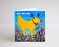 Jo Gough - A Festive Lambanana with flowers Christmas Card