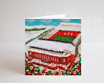Jo Gough - A Festive LFC Stadium with flowers Christmas Card